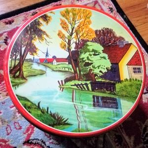 Vintage Chicago river country scene cookie Tin